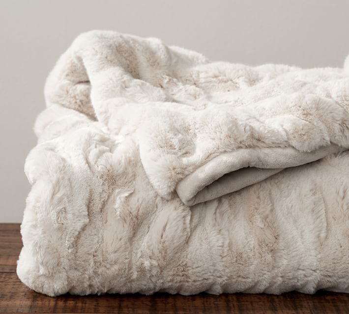 Faux Fur Ruched Throw, 50 x 60