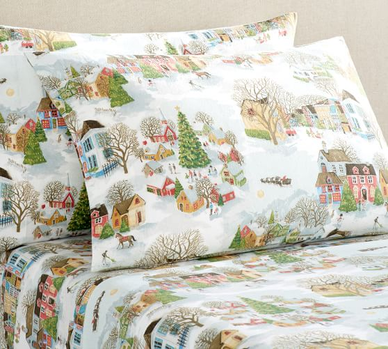Snow Village Printed Flannel Sheet Set Queen Multi Pottery Barn