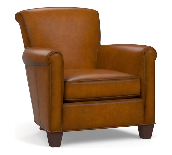 Irving Leather Armchair, Polyester Wrapped Cushions ...