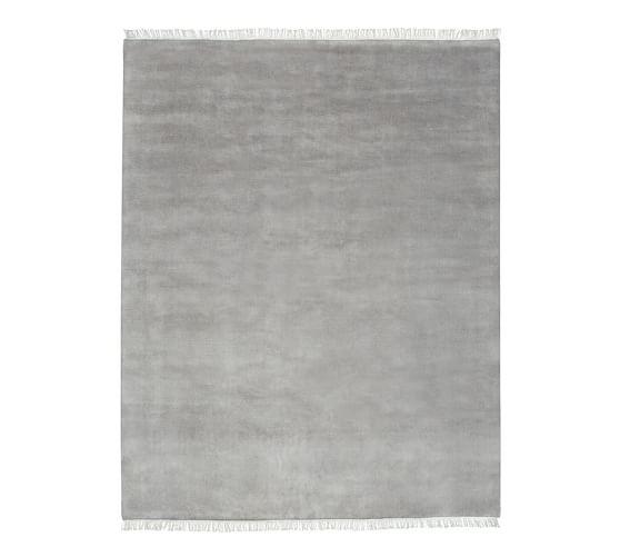 Fringed Hand Loomed Wool Rug 9x12 Heathered Gray Pottery Barn