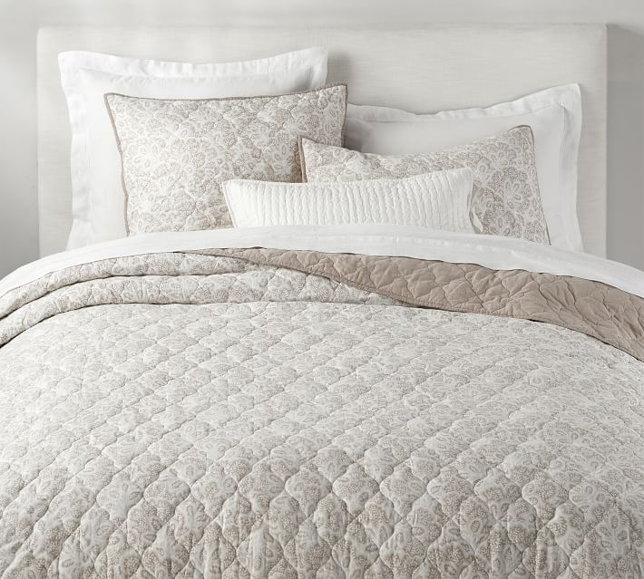Clio Reversible Cotton Coverlet King Cal King Flax Pottery Barn