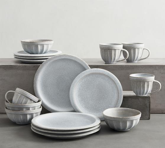 Mendocino Stoneware 16-Piece Dinnerware Set - Mineral Blue