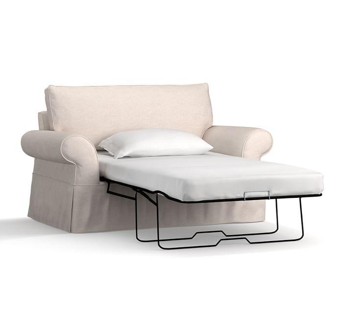 Pearce Slipcovered Twin Sleeper Sofa With Memory Foam