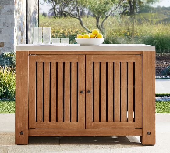 Abbott Outdoor Kitchen Fsc Acacia Double Cabinet Brown Pottery Barn
