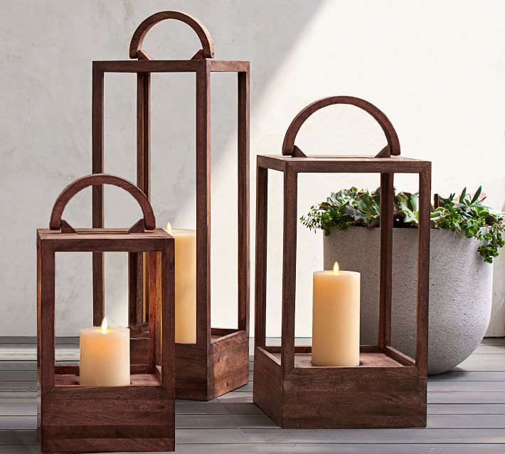 Decker Mango Wood Lanterns Pottery Barn