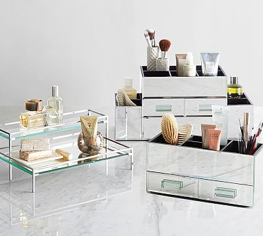 Mirrored Glass Makeup Storage Pottery Barn