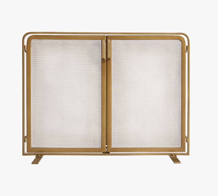 Vail Glass Fireplace Screen With Doors Pottery Barn