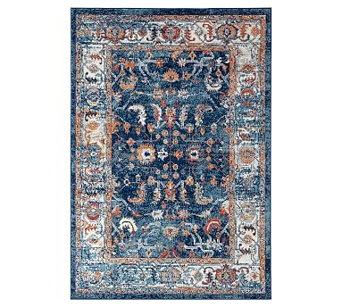 Blue Multi Tiana Synthetic Rug Patterned Rugs Pottery Barn