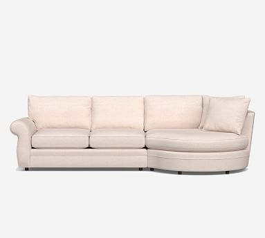Pearce Roll Arm Upholstered Sofa Curved Chaise Sectional