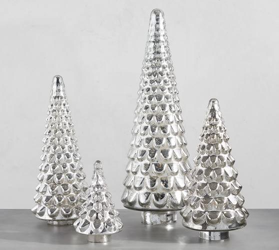 Mercury Glass Tree Cloches Pottery Barn