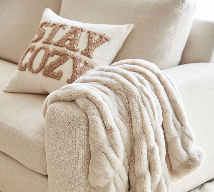 Stay Cozy Teddy Faux Fur Applique Pillow Cover
