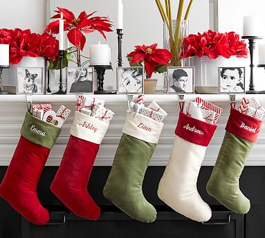Holiday Icons Crewel Personalized Stockings Pottery Barn