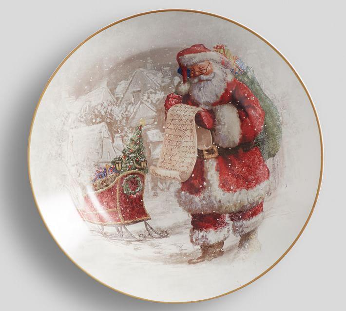 New Pottery Barn Santa/'s Reindeer Footed Serve Bowl ~ Porcelain Serving Bowl NWT