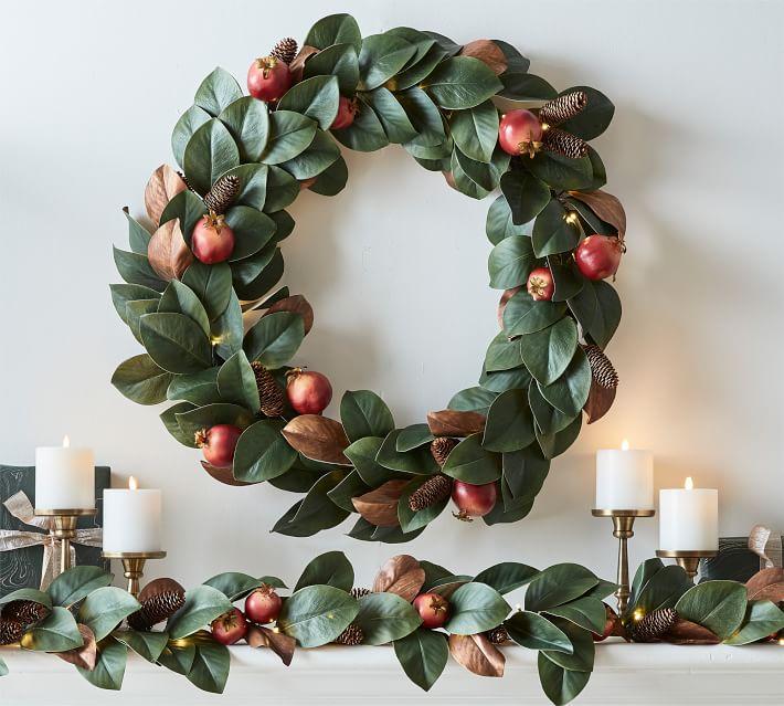 Pre Lit Faux Magnolia Amp Pomegranate Garland Pottery Barn