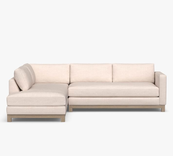 Jake Upholstered Return Bumper Sectional with Wood Base