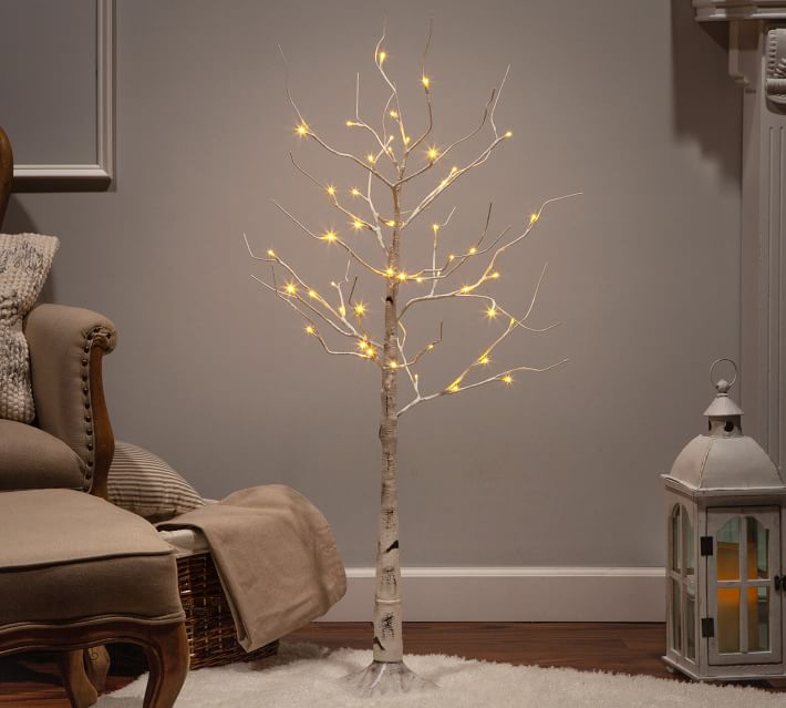 Light Up LED Faux White Birch Trees | Pottery Barn