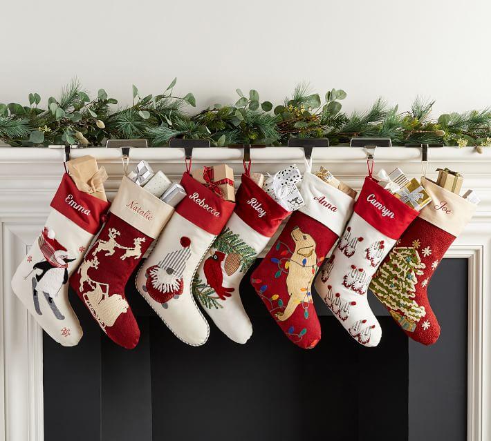 Holiday Icons Crewel Stockings Pottery Barn