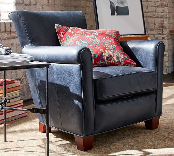 Irving Roll Arm Leather Armchair | Pottery Barn