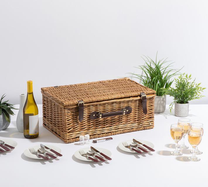 Bedford Woven Picnic Basket Set For 4 Pottery Barn