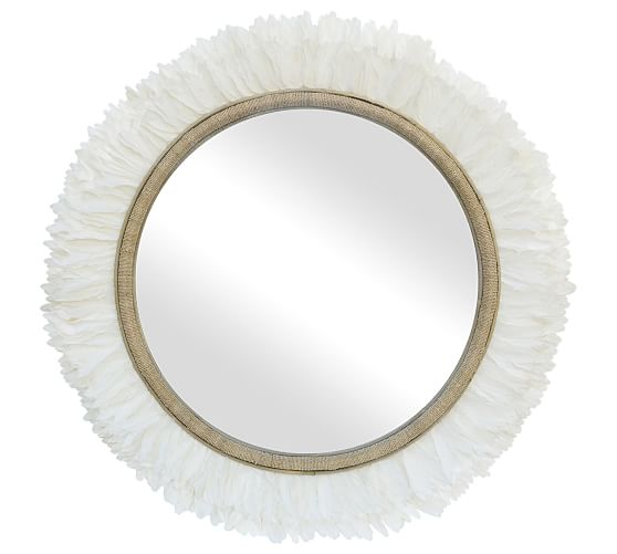 Penelope Round Feather Jute Wall Mirror Pottery Barn