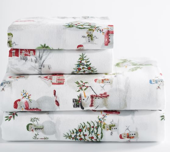 Snowman Flannel Sheet Set Pottery Barn