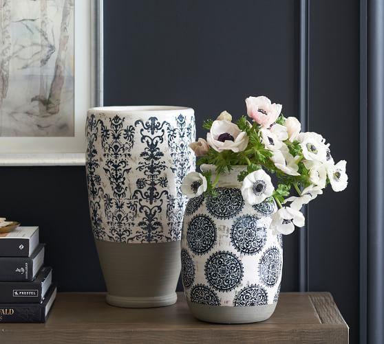 Lilian Hand Painted Ceramic Vases Pottery Barn
