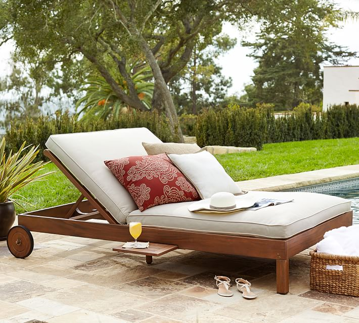 Ham Double Outdoor Chaise Lounge, Patio Furniture Chaise Lounge