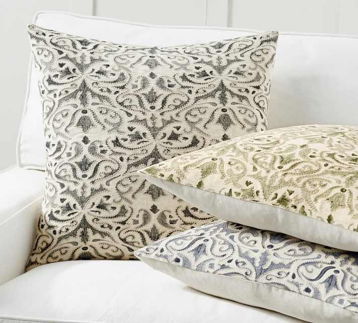 Reilley Embroidered Decorative Pillow Covers Pottery Barn