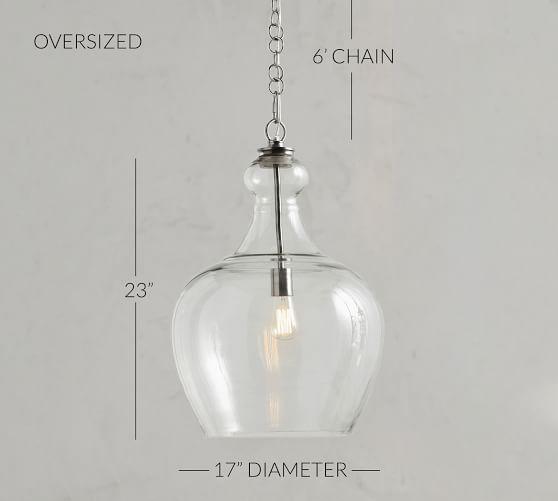 Glass Pendant Necklace Large Glass Pendant Vintage X1244