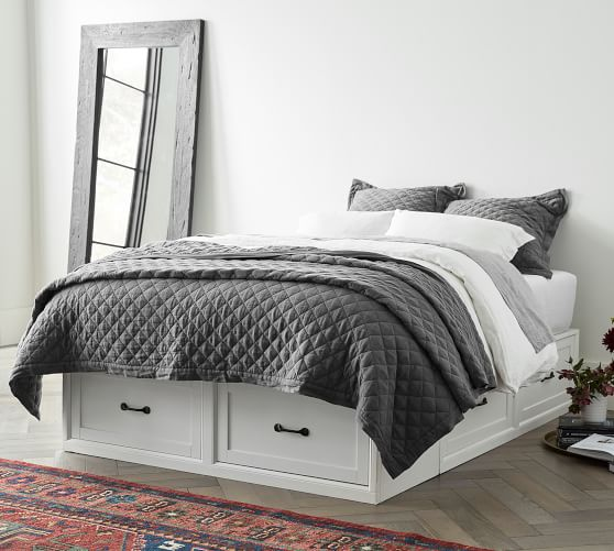 Stratton Storage Platform Bed Frame With Drawers Wooden Beds Pottery Barn