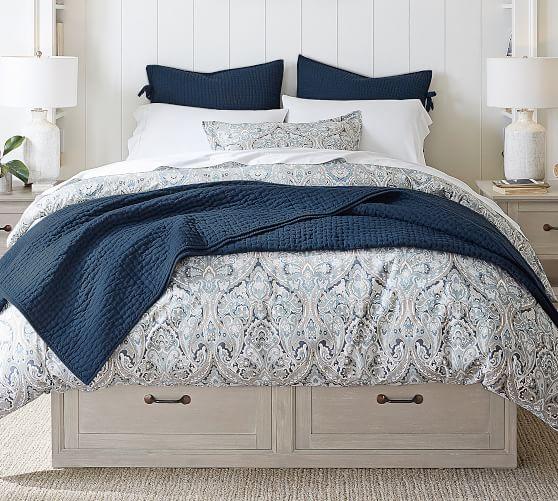 Stratton Storage Platform Bed Frame, Queen Size White Bed Frame With Storage