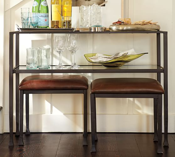 Tanner 42 Console Table Pottery Barn - Sofa Table With Stools Underneath