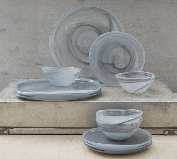 Alabaster Glass Dinnerware Collection Stone Pottery Barn