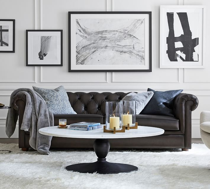 Chesterfield Leather Sofa Pottery Barn, Gray Leather Furniture