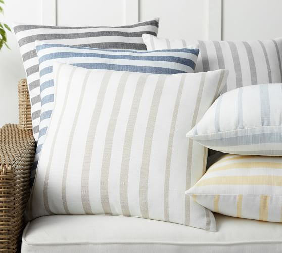 Leandra Striped Reversible Indoor Outdoor Pillow Pottery Barn