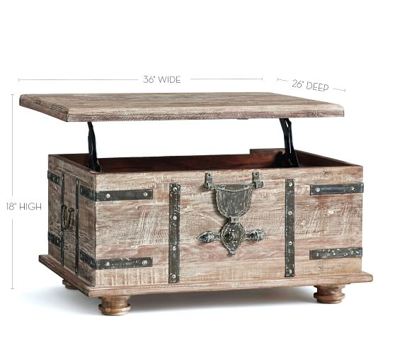 Kaplan Reclaimed Wood Lift Top Coffee Table Pottery Barn