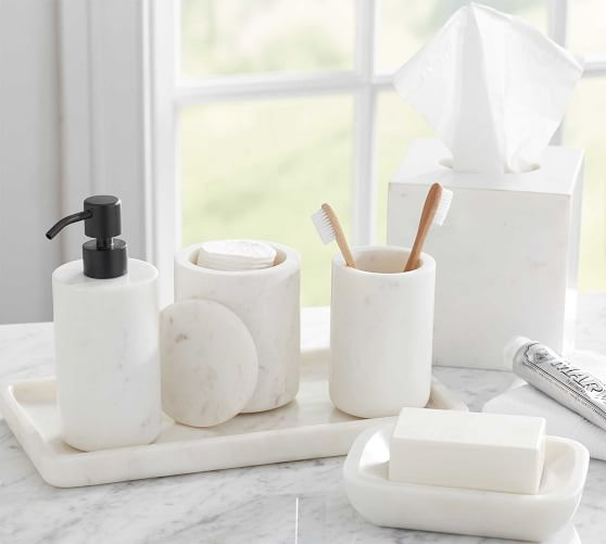 Frost Marble Bathroom Accessories Set Pottery Barn