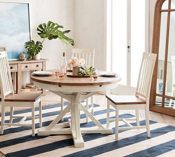 Solid White Wooden Round Table and 4 Chairs Perfect for Kitchen Dining Rooms