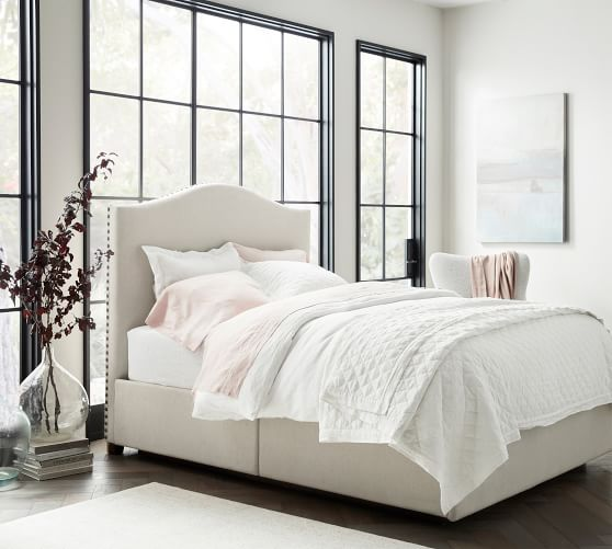 Raleigh Curved Upholstered Tall Side, Queen Platform Bed With Storage And Upholstered Headboard