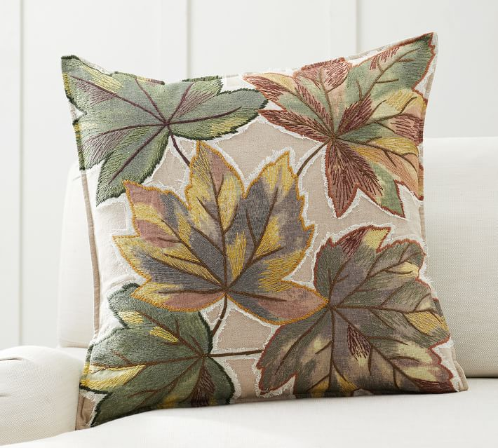 Leaf Embroidered Pillow Cover Pottery Barn
