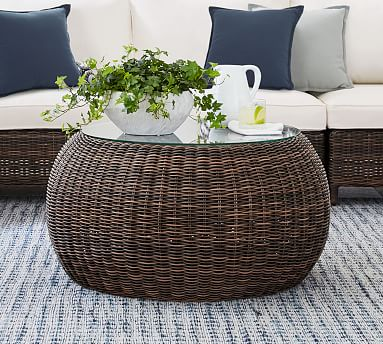 Torrey All Weather Wicker Outdoor Coffee Table Pouf Espresso Pottery Barn