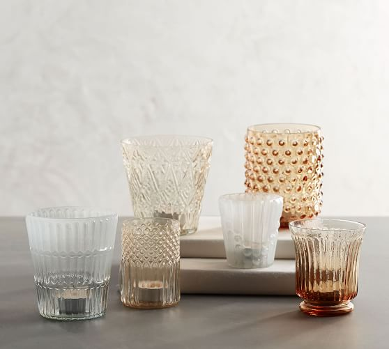 Pastel Pressed Glass Votive Holders Amber White Set Of 6 Candle Holder Pottery Barn