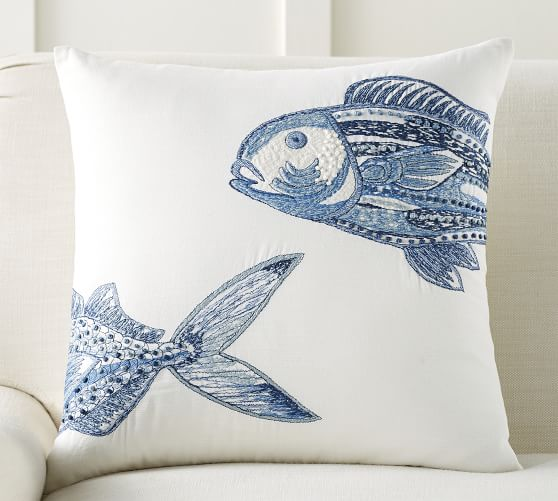 Lewes Fish Embroidered Decorative Pillow Cover Pottery Barn