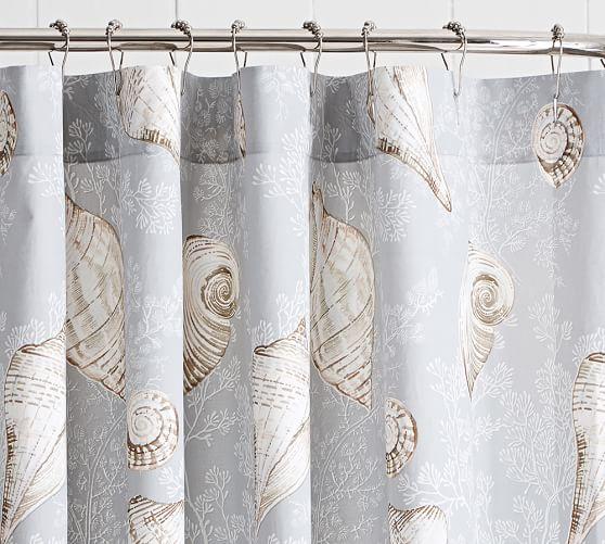 Summer Seashell Organic Shower Curtain