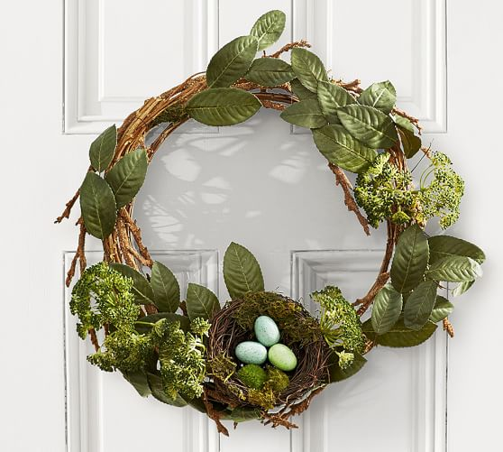 Robins Egg Blue Easter Wreath Rustic Easter Wreath Egg Wreath