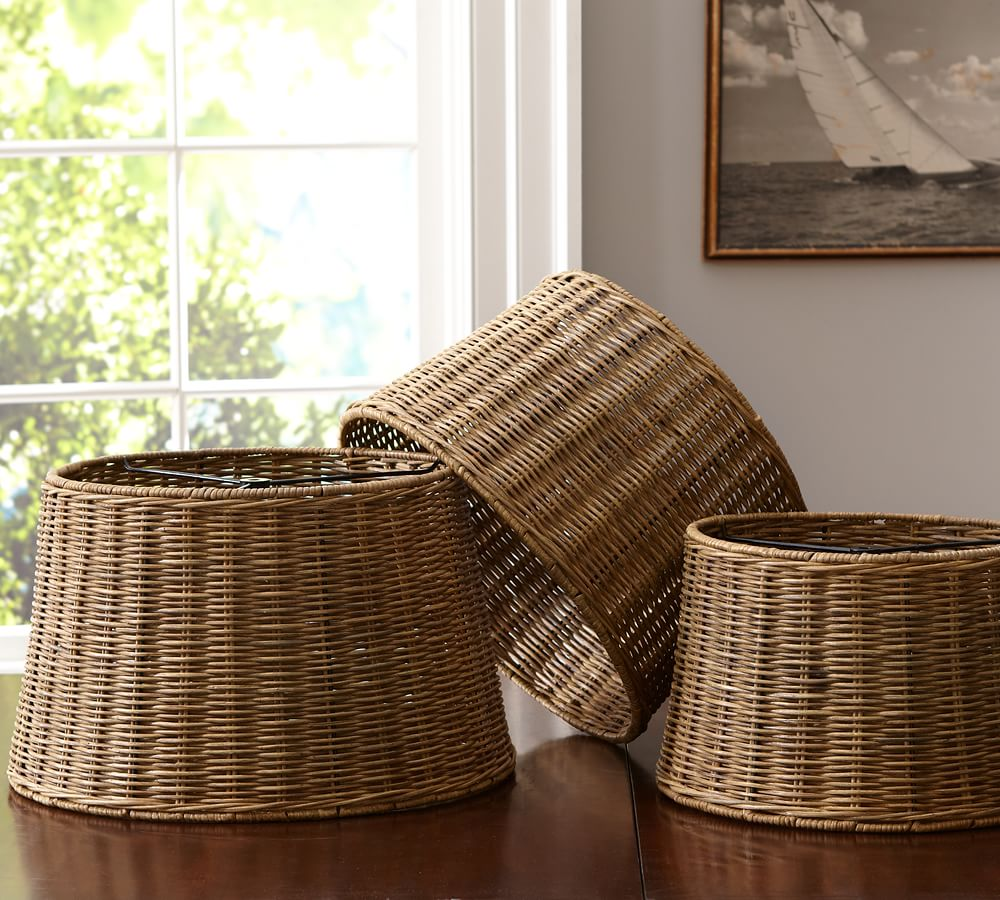 Woven Wicker Tapered Drum Lamp Shade   Pottery Barn
