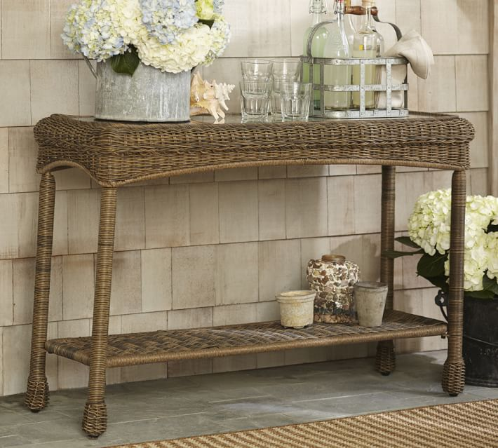 Saybrook All Weather Wicker Console Table Pottery Barn