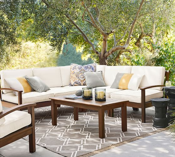 Chatham Outdoor Sectional Set Honey Pottery Barn