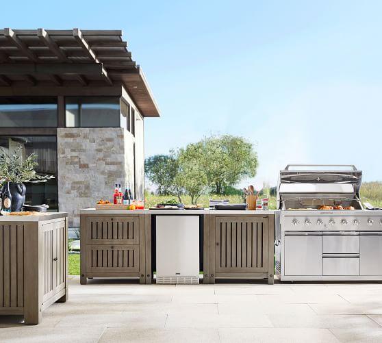 Abbott Outdoor Kitchen Fsc Acacia Double Cabinet Gray Wash Pottery Barn