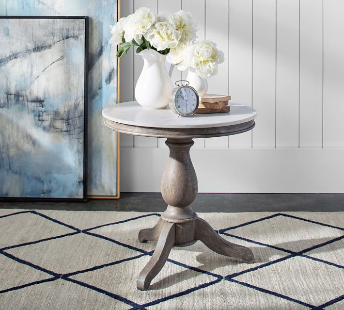 Alexandra 24 Round Marble End Table Pottery Barn